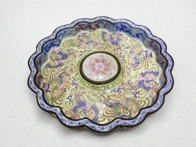 Chinese Cloisonne Bronze Body Enamel Dish