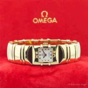 18k Yg Omega Constellation Bracelet Watch
