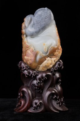 Chinese Hetian White Jade Carved Duck And Fish Table