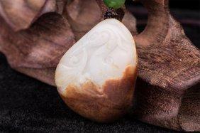 Chinese Hetian White Jade Bird Lotus Carving