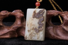 Chinese Hetian White Jade Bird Flower Plaque