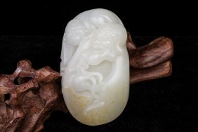 Chinese Hetian White Jade Carved Lohan Playing With Boy