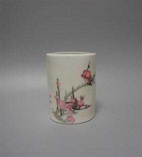 Chinese Porcelain Brush Pot 1970s
