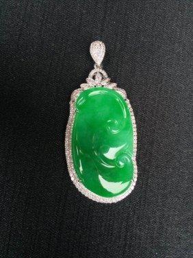 18k Gold Diamond Natural Jadeite Ruyi Pendant