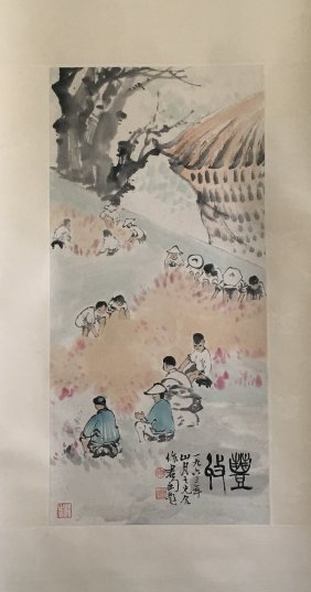 Chinese Scroll Painting Of Haverst Season