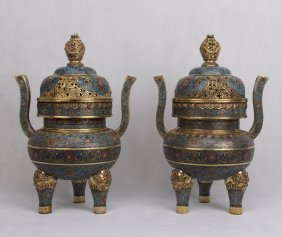 Pair Of Large Chinese Cloisonne Long Handle Censers