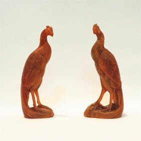 Pair Of Chines Horn Carved Bird