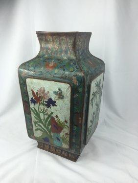 Large Chinese Cloisonne Square Vase