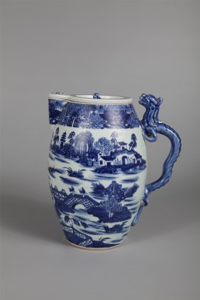 Chinese Export Porcelain Blue And White Milk Kettle