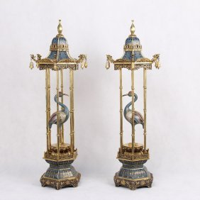 Pair Of Chinese Cloisonne Crane Booths