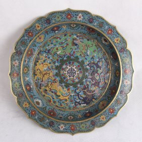 Large Chinese Cloisonne Sunflower Shape Charger