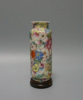Chinese Porcelain Famille Rose Floral Vase