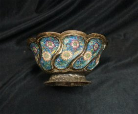 Chinese Enameled Silver Cup