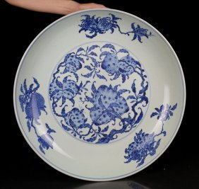 Chinese Porcelain Blue And White Peach Charger