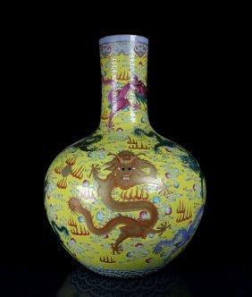 Chinese Porcelain Yellow Glaze Famille Rose Dragon