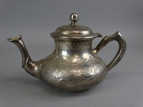 Middle Eastern Silvered Metal Tea Pot
