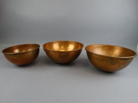Lot Of 3 Weighted Copper Mixing Bowls