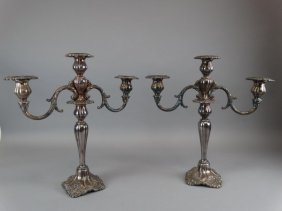 Pair Of Wallace Silverplate Three Light Candleabra