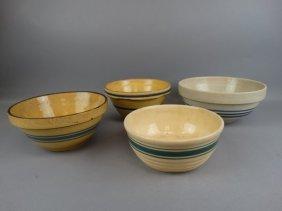 Lot Of 4 Antique Mixing Bowls