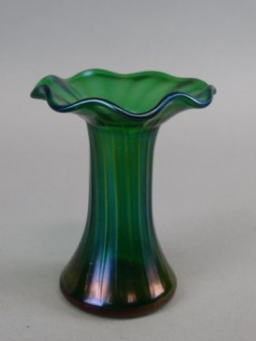 Loetz Style Iridescent Bohemian Art Glass Vase