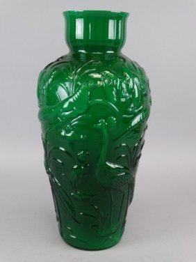 Large Green Cased Glass Vase