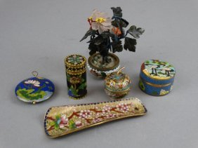 Lot Of 6 Chinese Cloisonne Items