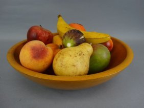 Wood Bowl With Carved Marble Fruit