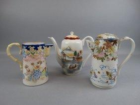 Lot Of 3 Japanese Porcelain Teapots