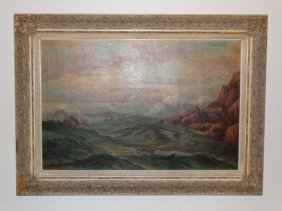 R. Lester - Oil On Canvas Of A Seascape