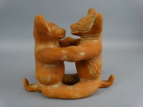 Pre-columbian Style Pottery Figure - Tigers