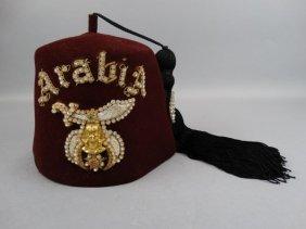 Shriner Fez W/ Rhinestone Hat