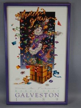 Framed Mardi Gras Galveston 1989 Poster