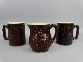 Crooksvile Burley & Winter Pottery Mugs & Creamer
