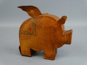 Unique Leather Flying Pig Bank