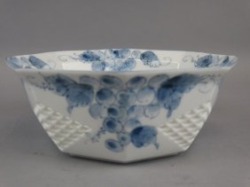 Japanese B&w Reticulated Bowl