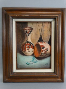 Madeline Wallach - Oil On Canvas : Indian Pottery