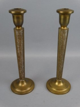 Pair Of Heavy Bronze Candlesticks