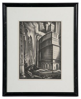 Cityscape By Howard Cook, Lithograph�