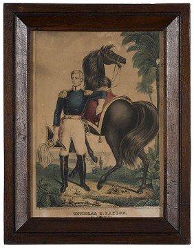 Kellogg Lithograph Of General Zachary Taylor�