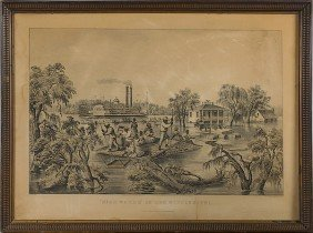 High Water In The Mississippi Currier & Ives Repro