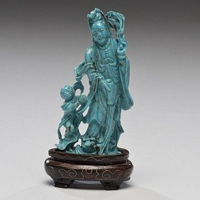 Chinese Carved Turquoise Guanyin And Child�