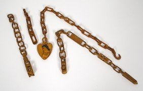 Group Of Folk Art Carved Whimsy Chains�