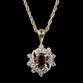 Garnet And Diamond Pendant With Chain�