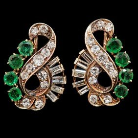 Emerald & Diamond Art Nouveau Earrings�