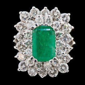 Emerald & Diamond Stacked Ring�