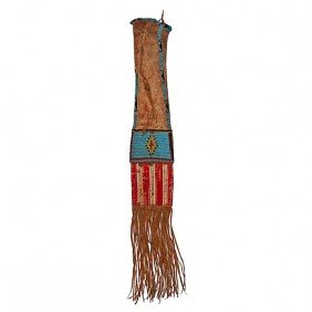 Early Sioux Beaded Hide Tobacco Bag�