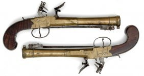 Pair Of English BoxLock Flintlock Blunderbuss Pisto