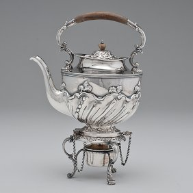English Sterling Tea Kettle-on-Stand�