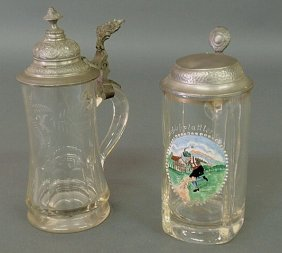 "German Etched Glass � Liter Stein 9""h. And Another"