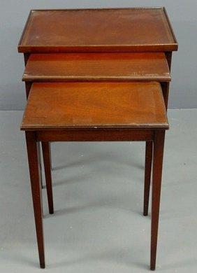 Hepplewhite Style Nesting Tables, Set Of Three, La